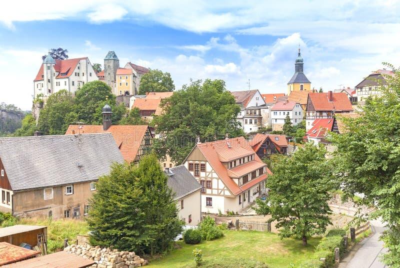 Stadt von Hohnstein in der sächsischen Schweiz, Deutschland lizenzfreies stockbild