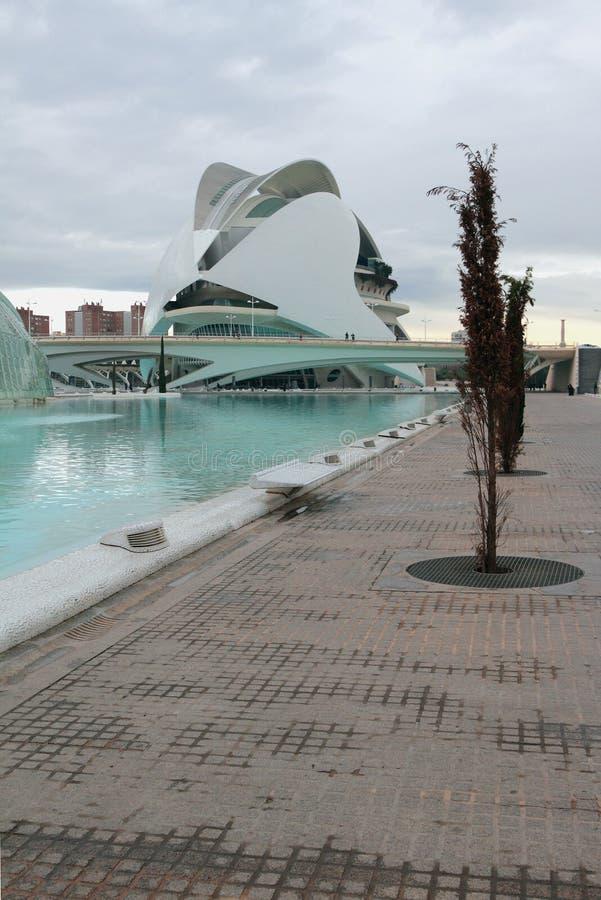 ` Stadt von Kunst und Wissenschaft `, Palast von Künsten der Königin Sofia Valencia, Spanien lizenzfreie stockfotos