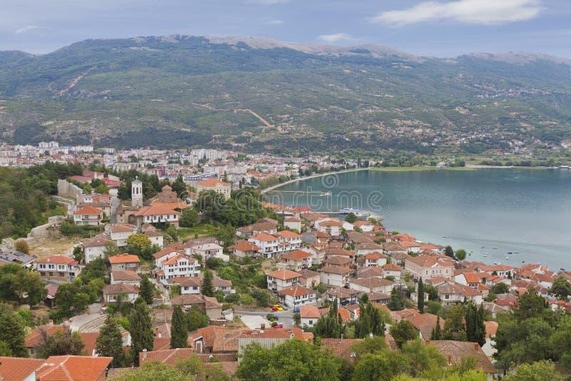 Stadt von Orid in See Ohrid lizenzfreie stockfotos