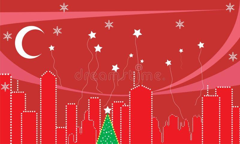 Stadt während der Weihnachtszeit. stock abbildung