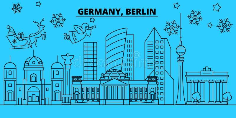 Stadt-Winterurlaubskyline Deutschlands, Berlin Frohe Weihnachten, guten Rutsch ins Neue Jahr verzierten Fahne mit Santa Claus deu lizenzfreie abbildung