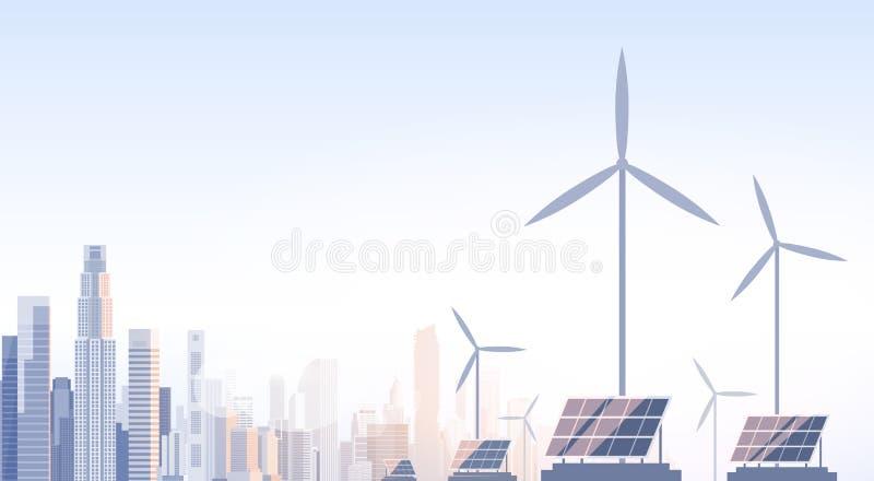 Stadt-Wolkenkratzer-Ansicht-Stadtbild-Wind-Tribüne-Solarbatterie-erneuerbare Energiequelle lizenzfreie abbildung