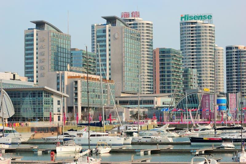 Stadt Yacht-Jachthafen China-Qingdao lizenzfreie stockbilder