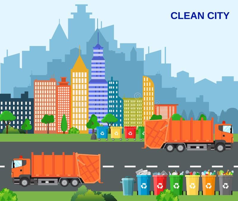 Stadtabfallaufbereitungskonzept mit Müllwagen stock abbildung