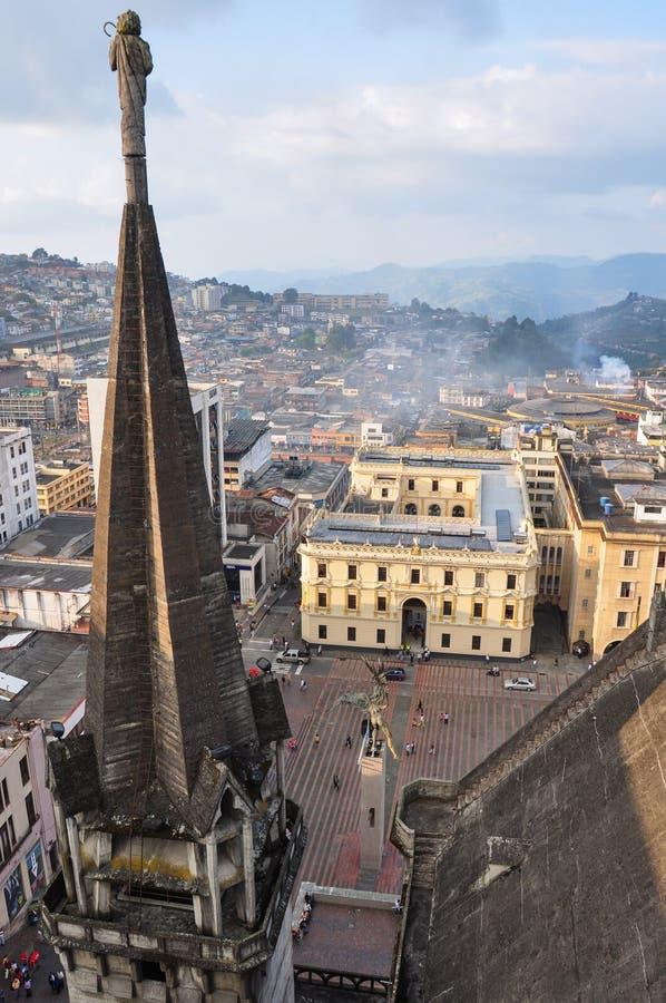 Stadtansicht von der Spitze der Kathedrale, Manizales, Kolumbien lizenzfreies stockbild
