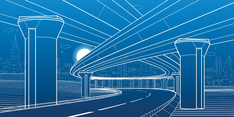 Stadtarchitektur und Infrastrukturillustration, Automobilüberführung, große Brücken, städtische Szene Riga-Stadt, Lettland Weiße  lizenzfreie abbildung