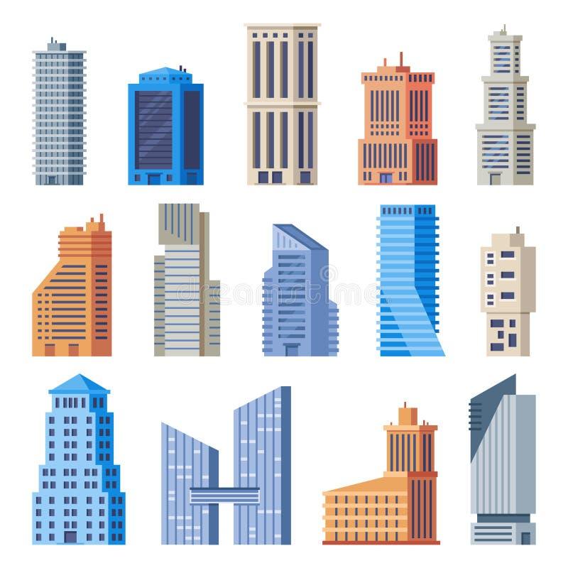 Stadtbürogebäude Glasgebäude, modernes städtisches Büroäußeres und Stadthohe Häuser lokalisierter Vektorsatz lizenzfreie abbildung