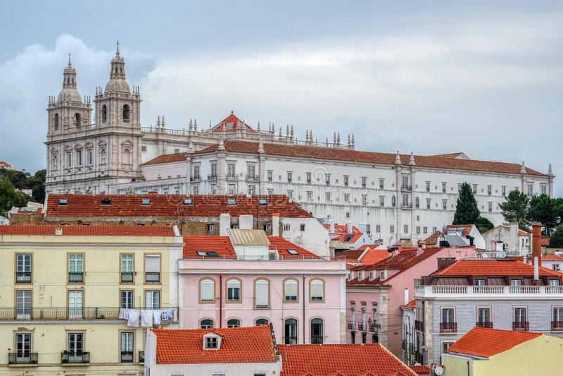 Stadtbild am Alfama-Bezirk, Lissabon, Portugal stockfoto