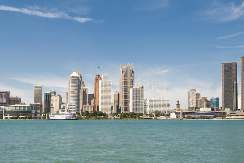 Stadtbild-Ansicht von Detroit Michigan lizenzfreie stockfotografie