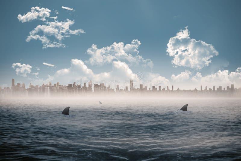Stadtbild auf Horizont über Haifisch geplagtem Meer lizenzfreie abbildung