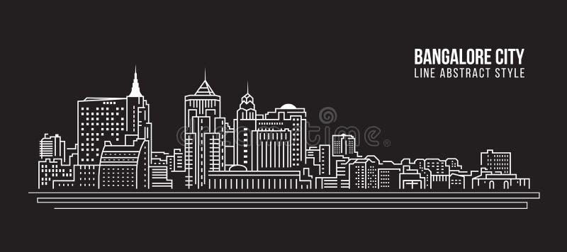 Stadtbild-Baulinie Kunst Vektor-Illustrationsdesign - Bangalore-Stadt lizenzfreie abbildung