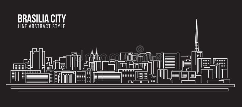 Stadtbild-Baulinie Kunst Vektor-Illustrationsdesign - Brasilien-Stadt stock abbildung