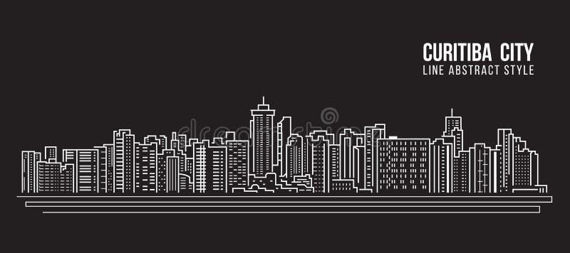 Stadtbild-Baulinie Kunst Vektor-Illustrationsdesign - Curitiba-Stadt vektor abbildung