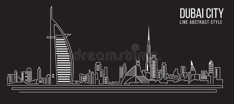 Stadtbild-Baulinie Kunst Vektor-Illustrationsdesign (Dubai-Stadt) stock abbildung