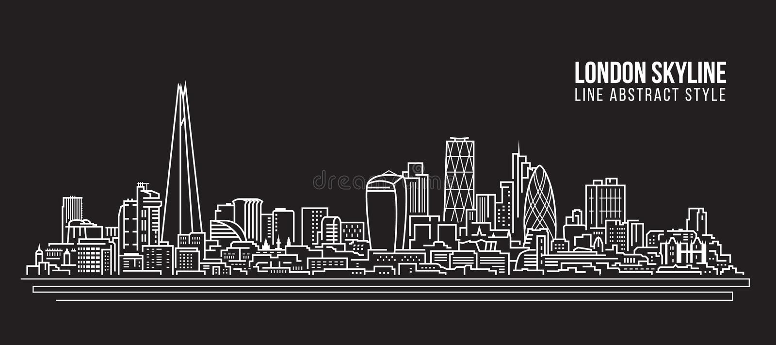 Stadtbild-Baulinie Kunst Vektor-Illustrationsdesign - London-Skyline stock abbildung