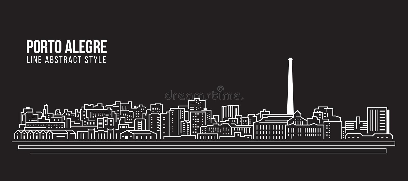 Stadtbild-Baulinie Kunst Vektor-Illustrationsdesign - Pôrto- Alegrestadt stock abbildung