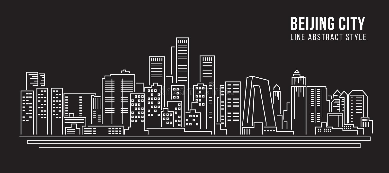 Stadtbild-Baulinie Kunst Vektor-Illustrationsdesign - Peking-Stadt vektor abbildung