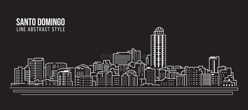 Stadtbild-Baulinie Kunst Vektor-Illustrationsdesign - Santo- Domingostadt stock abbildung