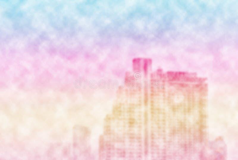 Stadtbild in den Pastellfarben umgeben durch Wolken, unscharfer Hintergrund vektor abbildung