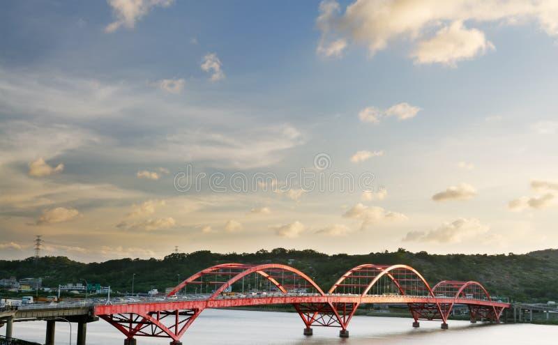 Stadtbild der Brücke mit blauem Himmel lizenzfreie stockbilder
