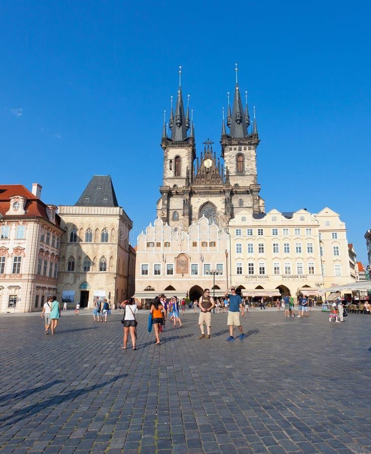 Stadtbild des alten Marktplatzes in Prag stockfotografie