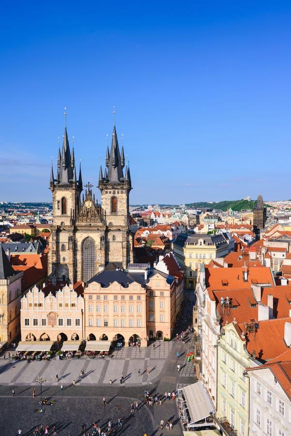 Stadtbild des alten Rathausplatzes in Prag stockfoto