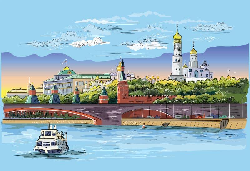 Stadtbild des Dammes von Kreml-Türmen und -brücke über Moskau-Fluss Rotem Platz, bunter lokalisierter Vektor Moskaus, Russland lizenzfreie abbildung
