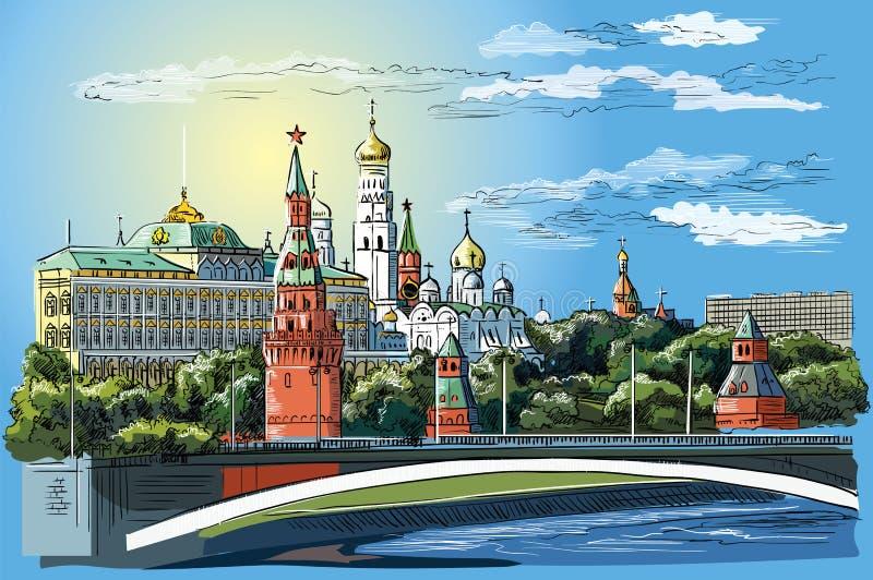 Stadtbild des Dammes von Kreml-Türmen und -brücke über Moskau-Fluss Rotem Platz, bunter lokalisierter Vektor Moskaus, Russland vektor abbildung