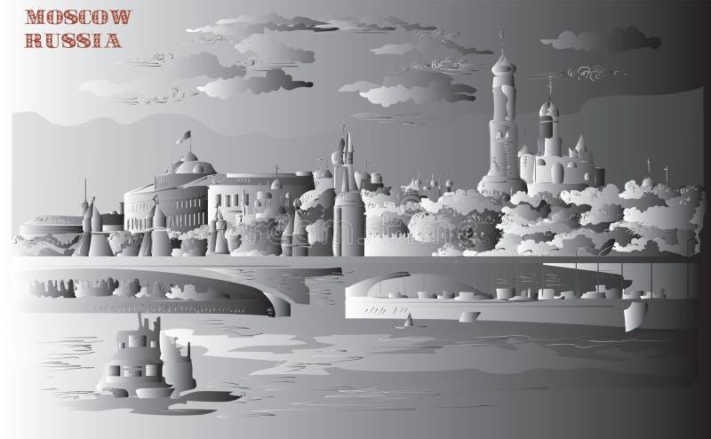 Stadtbild des Dammes von Kreml-Türmen und -brücke über Moskau-Fluss Rotem Platz, Moskau, Russland lokalisierte Vektorhandzeichnun vektor abbildung
