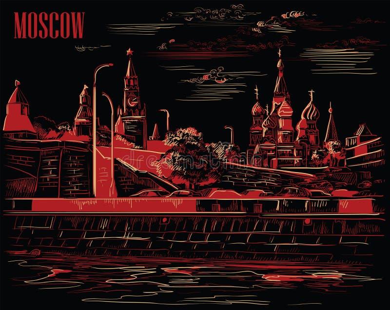 Stadtbild des Dammes von Kreml-Türmen und -brücke über Moskau-Fluss Rotem Platz, Moskau, Russland lokalisierte Vektorhandzeichnun stock abbildung