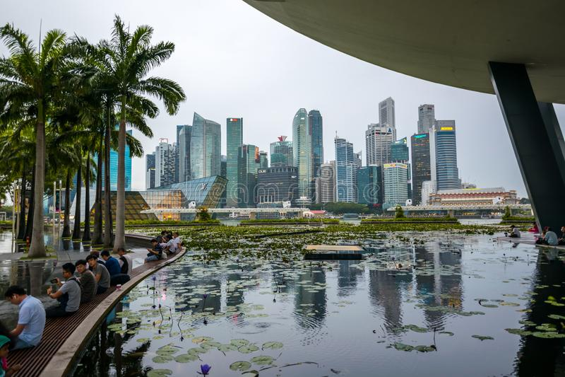 Stadtbild des Geschäftsgebiets Ansicht von Marina Bay Sands, Singapur lizenzfreies stockbild