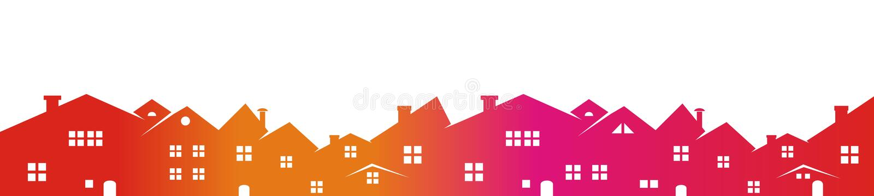 Stadtbild, farbiges Schattenbild lizenzfreie abbildung