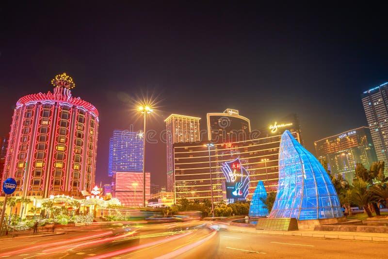 Stadtbild Macau nachts lizenzfreies stockfoto