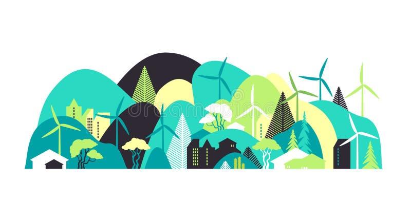 Stadtbild mit grünen Hügeln Umweltschutz, Ökologie, alternative Energiequellen lizenzfreie abbildung