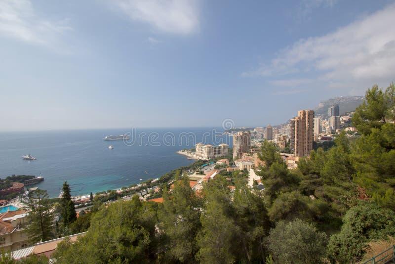 Stadtbild Monacos Monte Carlo, Fürstentumsvogelperspektive lizenzfreies stockbild