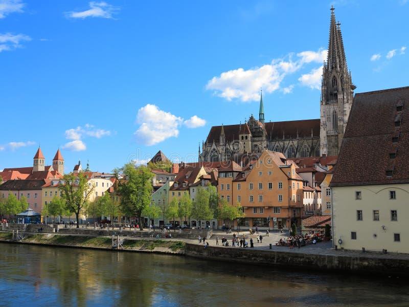 Stadtbild Regensburg bei der Donau stockbild