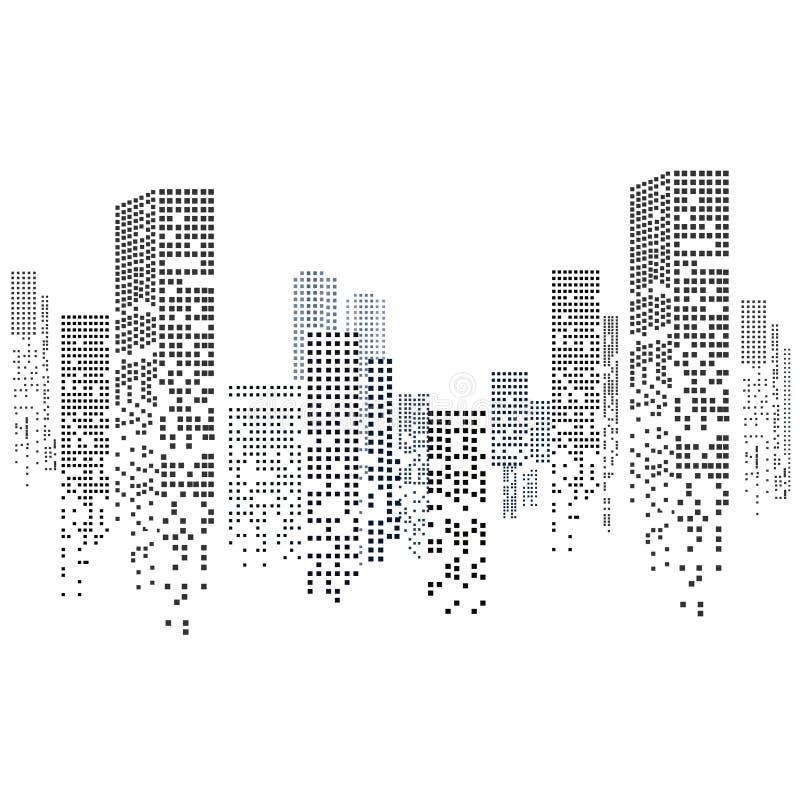 Stadtbild-Schattenbild lokalisiert auf weißem Hintergrund im flachen Design Auch im corel abgehobenen Betrag lizenzfreie abbildung