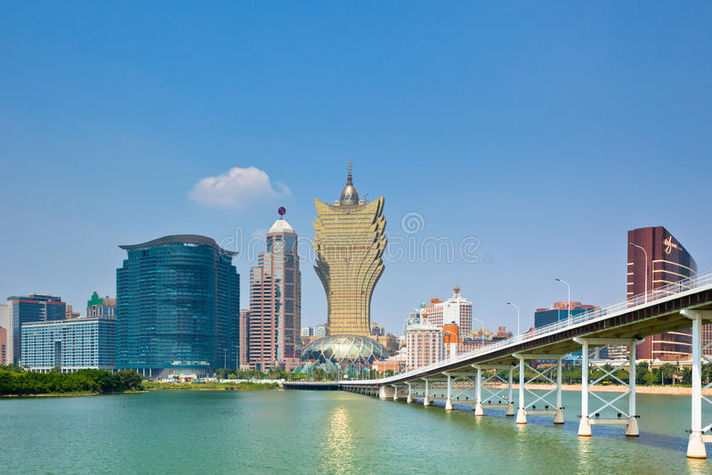 Stadtbild-Skylineansicht Macaus im Stadtzentrum gelegene stockfotos