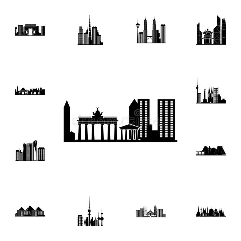Stadtbild in Taipeh-Ikone Ausführlicher Satz Stadtbildikonen Erstklassiges Qualitätsgrafikdesignzeichen Eine der Sammlungsikonen  stock abbildung