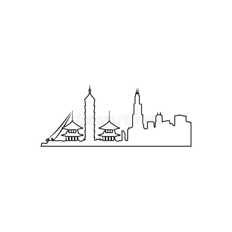 Stadtbild in Taipeh-Ikone Element von Stadtbild f?r bewegliches Konzept und Netz Appsikone Entwurf, d?nne Linie Ikone f?r Website lizenzfreie abbildung