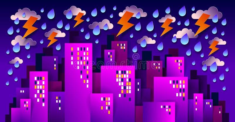 Stadtbild unter Gewitter und Blitz in der Nacht Cartoon Vektor Illustration in Papierschnitt Kinder Anwendung Stil, hohe Stadt lizenzfreie abbildung