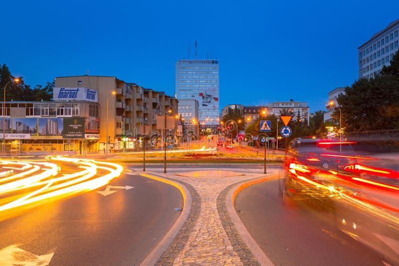 Stadtbild von Bialystok mit Ampeln, Polen stockfoto