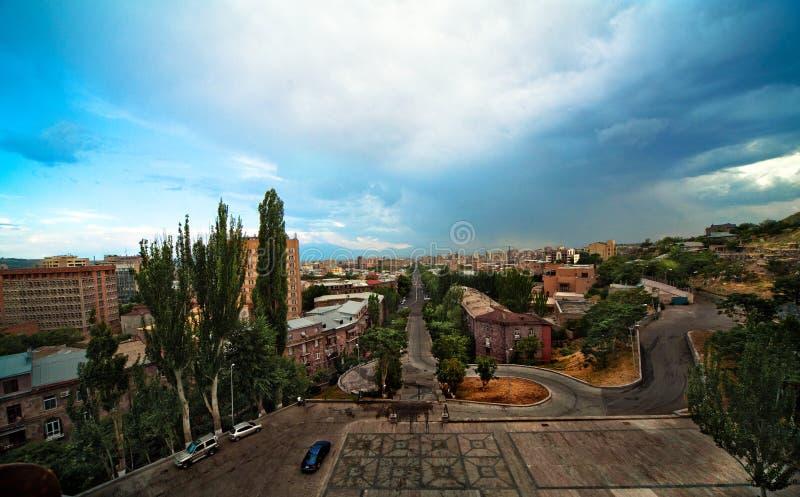 Stadtbild von Eriwan Hauptstadt von Armenien lizenzfreie stockbilder