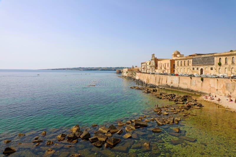 Stadtbild von Ortygia, die historische Mitte von Syrakus, Sizilien, Italien stockfotografie