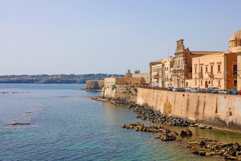 Stadtbild von Ortygia, die historische Mitte von Syrakus, Sizilien, Italien stockfotos