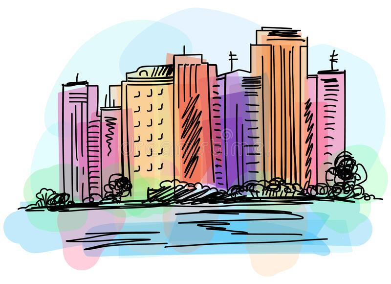Stadtbildansicht über Damm Übergeben Sie gezogenes digitales Vektoraquarell und Markierungsillustration lizenzfreie abbildung