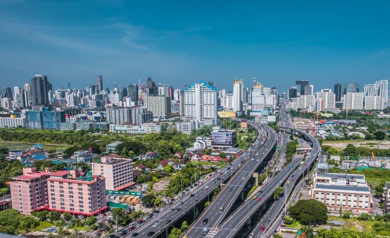 Stadtbildansicht B?ro-Gesch?ftsgeb?udes Bangkoks des modernen Geb?ude in Bangkok, Thailand stockbilder