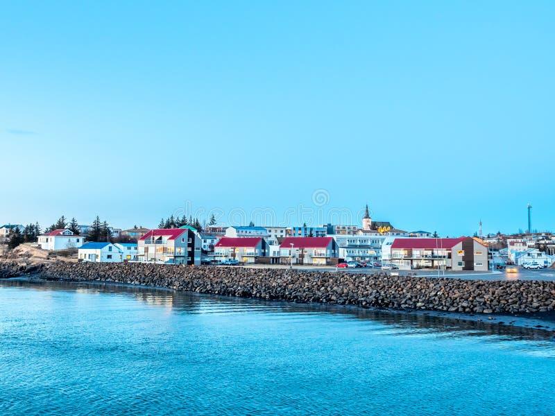 Stadtbildansicht von Borganes, Island stockfoto