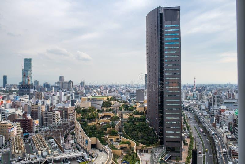 Stadtbildansicht von Wolkenkratzern von Osaka, Japan stockbilder