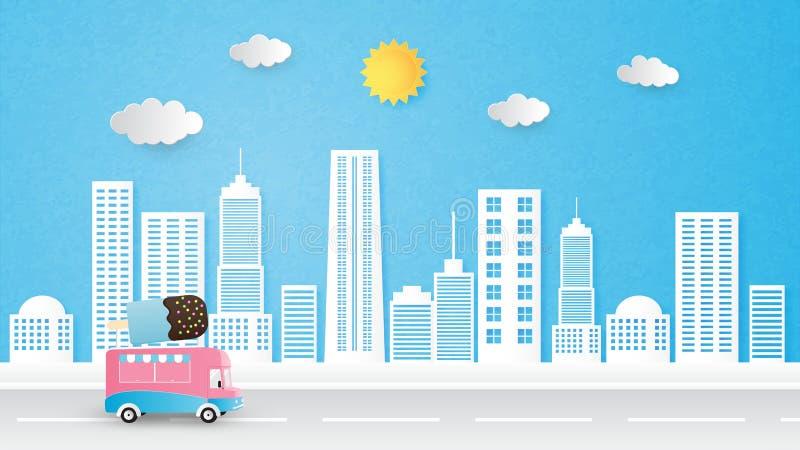 Stadtbildhintergrundvektorpapier-Schnittart mit Eiscreme-LKW, -Sun und -wolken lizenzfreie abbildung